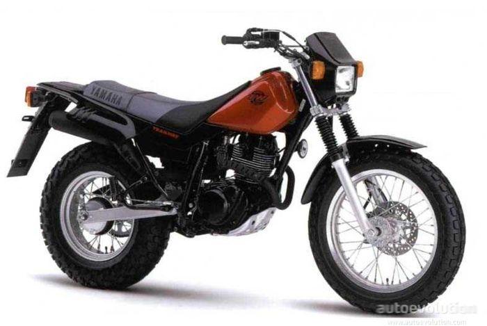 Bentuk standar Yamaha TW125 (model year 1999-2004). Gagah ya?