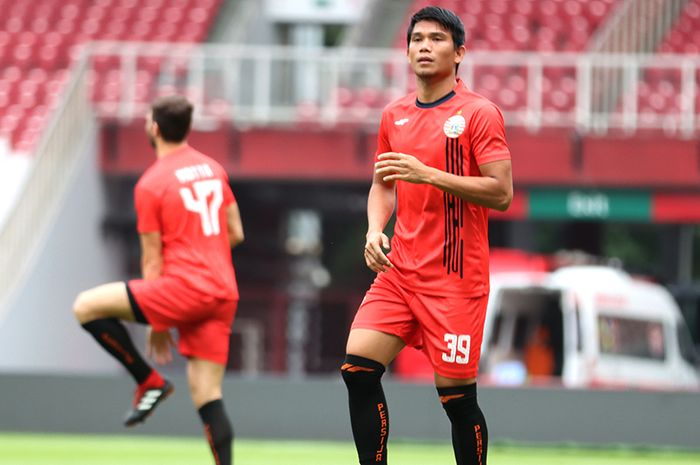 Gelandang Bertahan Persija Jakarta, Sandi Sute, ikut serta dalam latihan jelang melawan Borneo FC di Stadion Gelora Bung Karno, Jakarta (29/2/2020)