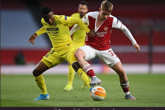 LAga Arsenal versus Villarreal pada semifinal leg kedua Liga Europa, Kamis (6/5/2021).