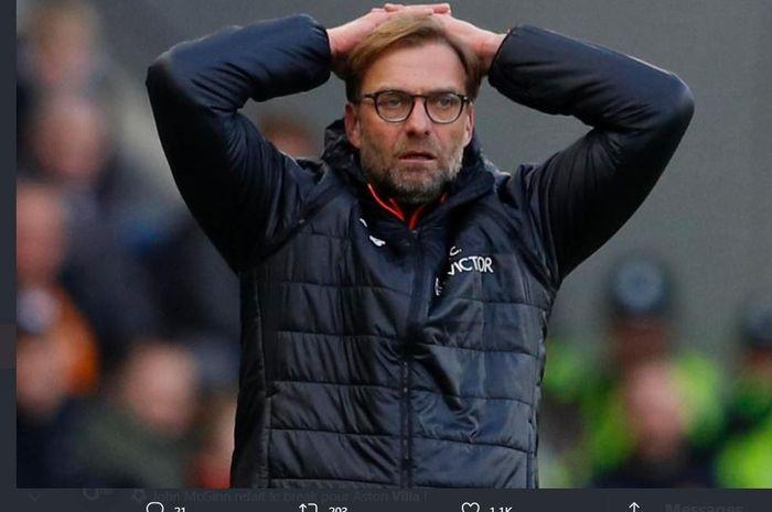 Reaksi pelatih Liverpool, Juergen Klopp.