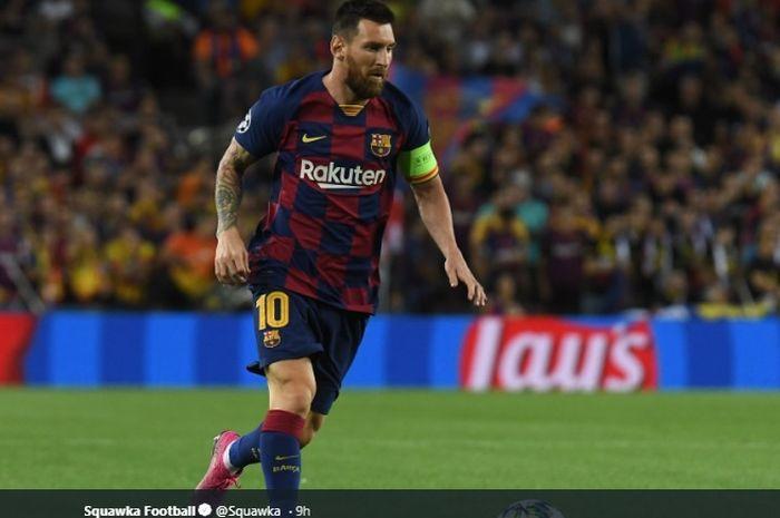 Aksi Lionel Messi ketika Barcelona menghadapi Inter Milan pada matchday kedua Grup F Liga Champions di Camp Nou, Rabu (2/10/2019).