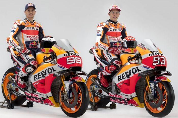 Duo pembalap tim Repsol Honda, Marc Marquez dan Jorge Lorenzo.