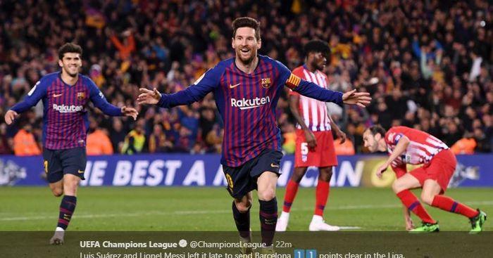 Megabintang Barcelona, Lionel Messi, merayakan gol yang dicetak ke gawang Atletico Madrid dalam laga Liga Spanyol di Stadion Camp Nou, Sabtu (6/4/2019).