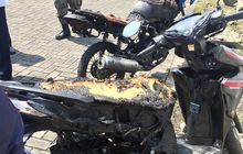 Honda Vario dan Tiger Tampak Rangka, Dijilat Api Misterius Semarang