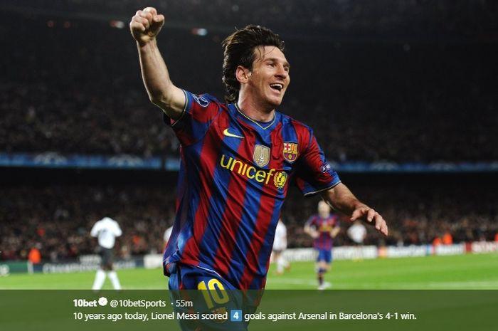 Megabintang Barcelona, Lionel Messi, berhasil merayakan golnya saat menghadapi Arsenal pada kompetisi Liga Champions, Selasa (6/4/2010) waktu setempat.