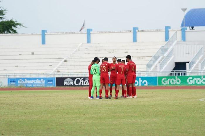 Timnas U-15 Indonesia sebelum hadapi timnas U-15 Thailand pada babak semifinal Piala AFF U-15 2019.