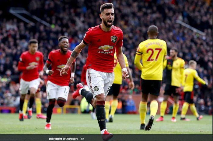 Gelandang anyar Manchester United, Bruno Fernandes, saat melakukan perayaan gol yang ia cetak ke gawang Watford, Minggu (23/2/2020).