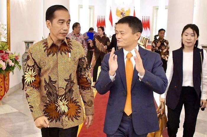 Jokowi bertemu <a href='https://medan.tribunnews.com/tag/jack-ma' title='JackMa'>JackMa</a>, Sabtu (1/9/2018)
