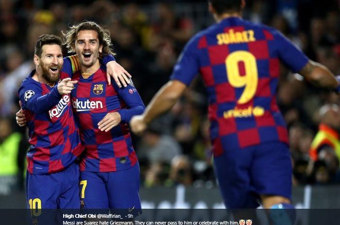 Antoine Griezmann mendapat sambutan dari Lionel Messi disusul Luis Suarez usai mencetak gol ke gawang Borussia Dortmund pada matchday kelima Grup F Liga Champions 2019-2020 di Stadion Camp Nou, Rabu (27/11/2019).