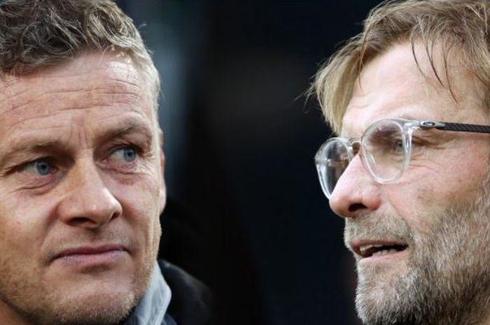 Pelatih Manchester United, Ole Gunnar Solskjaer (kiri) dan pelatih Liverpool, Juergen Klopp.