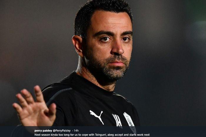 Pelatih Al-Sadd, Xavi Hernandez, yang sempat dikabarkan akan menjadi pengganti Ernesto Valverde di Barcelona.