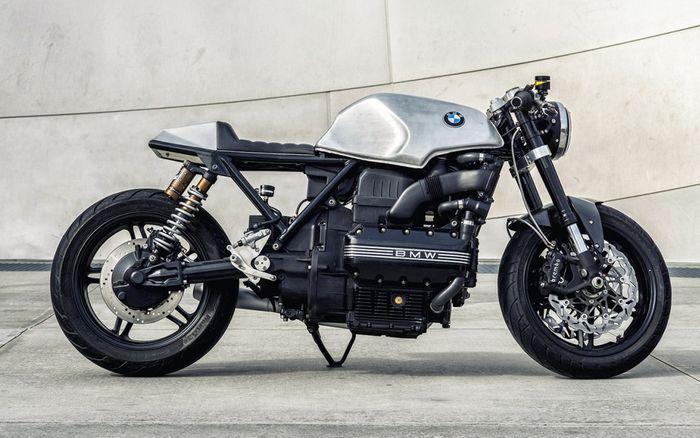 BMW K100 custom cafe racer dengan gaya terondolan