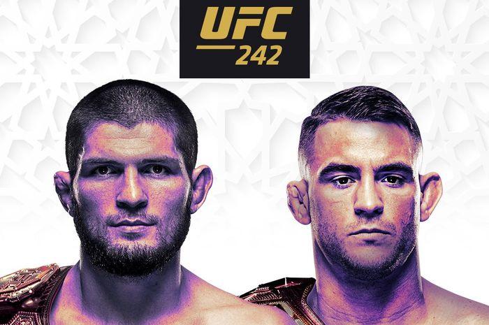 Poster pertandingan Khabib Nurmagomedov vs Dustin Poirier pada ajang UFC 242.