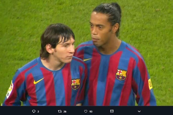 Lionel Messi dan Ronaldinho dalam momen el clasico Real Madrid vs Barcelona, 19 November 2005.