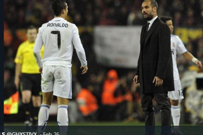 Perselisihan Cristiano Ronaldo dan Pep Guardiola dalam duel Real Madrid versus Barcelona, 29 November 2010.