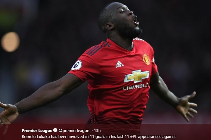 Penyerang Manchester United, Romelu Lukaku mengemas dua gol saat melawan Southampton dalam lanjutan laga ke-29 Liga Inggris.