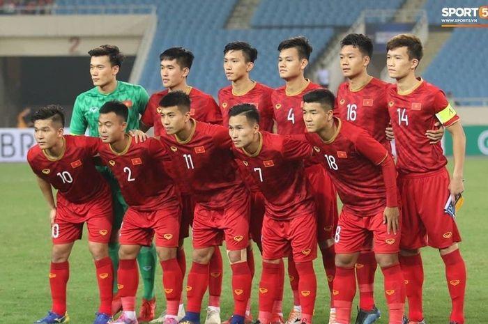 Skuat Timnas U-23 Vietnam saat menghadapi Brunei Darussalam di Kualifikasi Piala Asia U-23 2020.