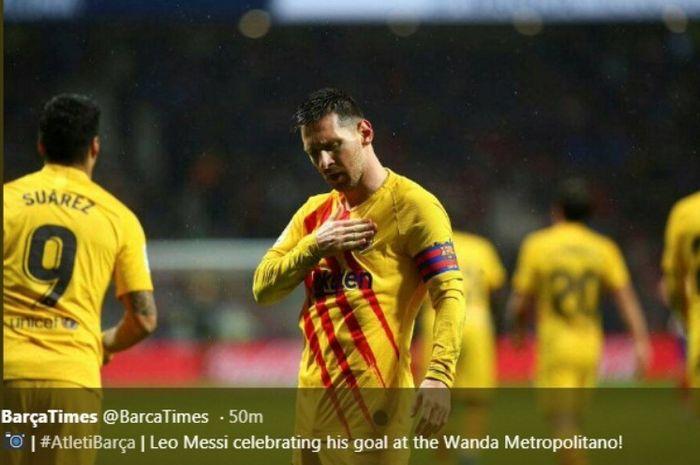 Selebrasi megabintang Barcelona, Lionel Messi, seusai menjebol gawang Atletico Madrid di Wanda Metropolitnao, Minggu (1/12/2019).