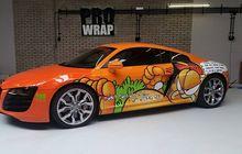 Imut Banget Nih, Ada Audi R8 V10 Dibungkus Cutting Sticker Garfield