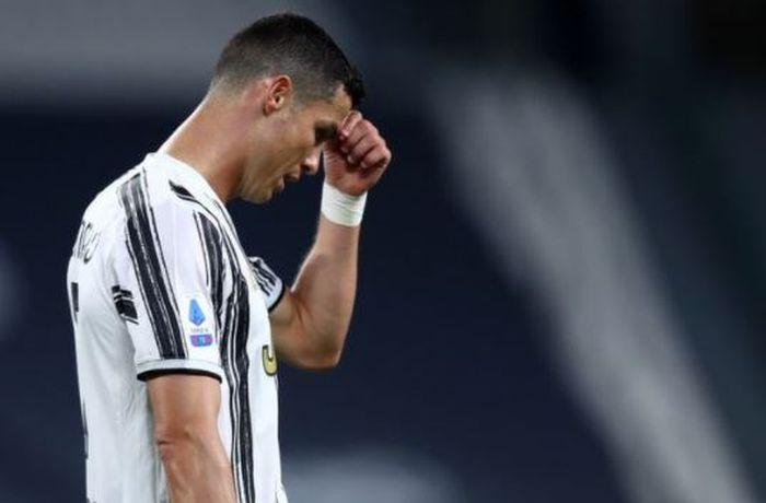 Ekspresi megabintang Juventus, Cristiano Ronaldo.