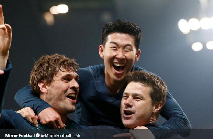 Mauricio Pochettino bersama Son Heung-min dan Fernando Llorente merayakan kesuksesan Tottenham Hotspur usai lolos ke semifinal Liga Champions