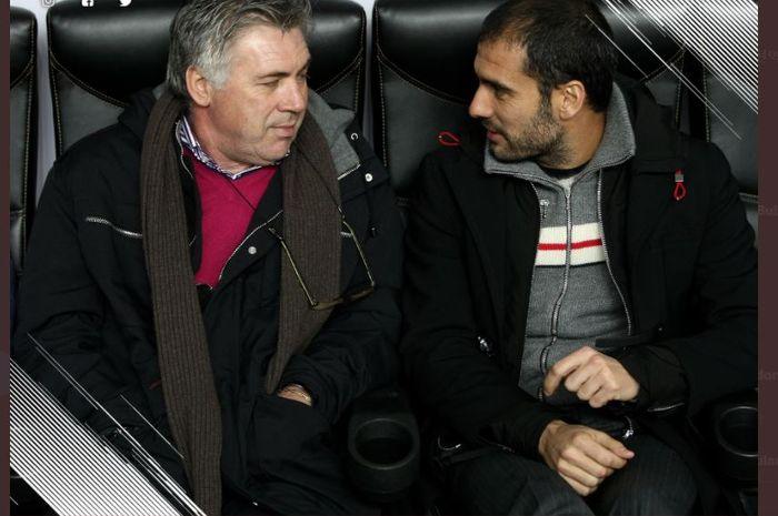 Carlo Ancelotti (kiri) dan Pep Guardiola ketika bertemu dalam sebuah pertandingan.