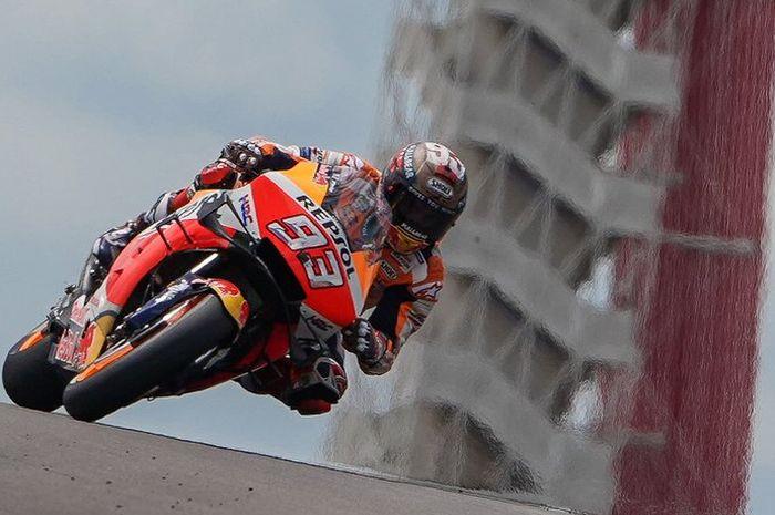 Pembalap Repsol Honda, Marc Marquez saat tampil di sesi kualifikasi MotoGP Americas 2019, Minggu (14/4/2019) WIB.