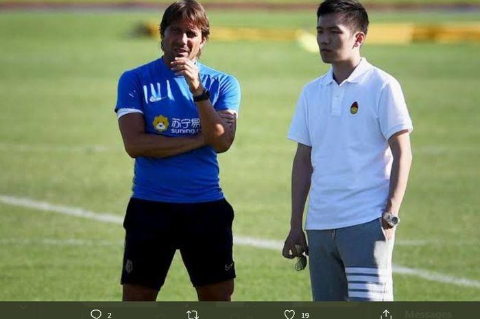 Pelatih Inter Milan Antonio Conte bersama presiden klub, Steven Zhang.