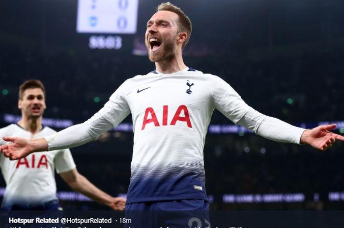 Christian Eriksen merayakan gol ke gawang Brighton & Hove di Tottenham Hotspur Stadium