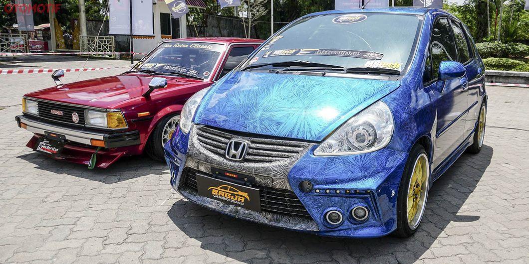 Jazz biru airbrush, peserta MBtech Auto Combat seri 2 Pekanbaru 2018. Photo : Agus Salim