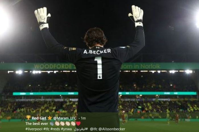 Alisson Becker pada laga Liverpool Vs Norwich di Carrow Road, pada laga pekan ke-26 Liga Inggris, Sabtu (15/2/2020).