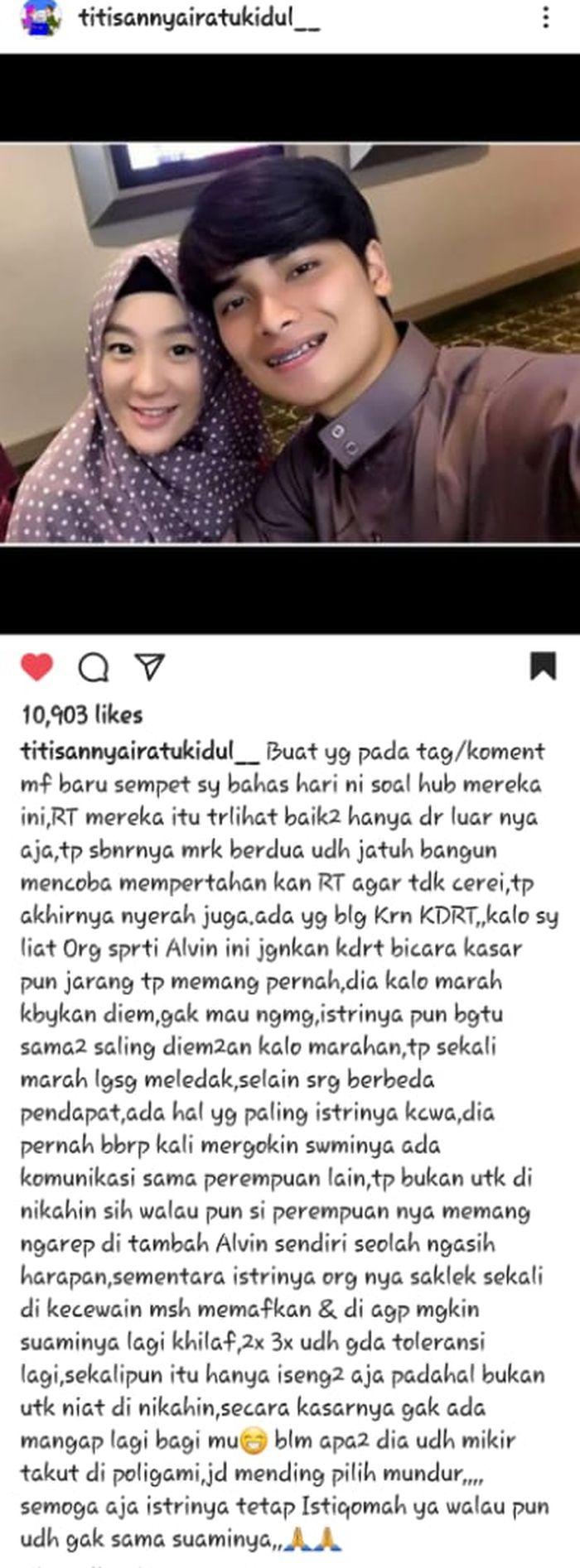 Pernyataan paranormal terkait rumah tangga Alvin Faiz dan Larissa Chou yang kandas (tangkap layar @titisannyairatukidul__).