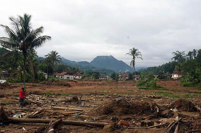 Lahan yang terkena bencana longsor pada 1 Januari 2020 di Desa Harkatjaya, Kecamatan Sukajaya, Kabupaten Bogor.