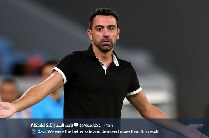 Pelatih Al Sadd, Xavi Hernandez, dalam laga kontra Al Duhail pada Selasa (6/8/2019).