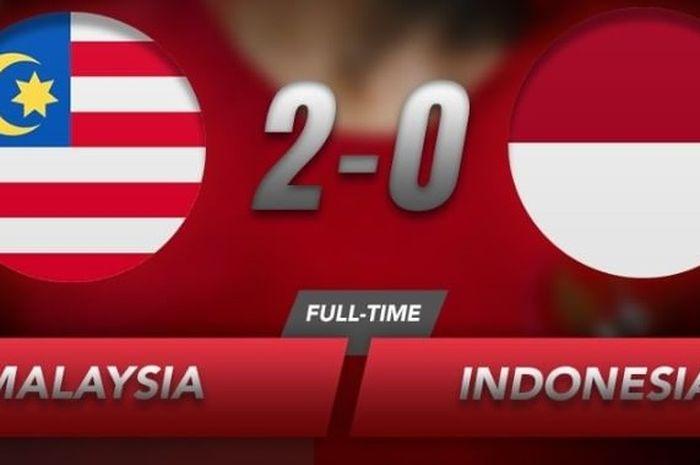 Timnas Indonesia kalah 0-2 dari Malaysia pada laga ke-5 Grup G babak kedua Kualifikasi Piala Dunia 2022 zona Asia, Selasa (19/11/2019).