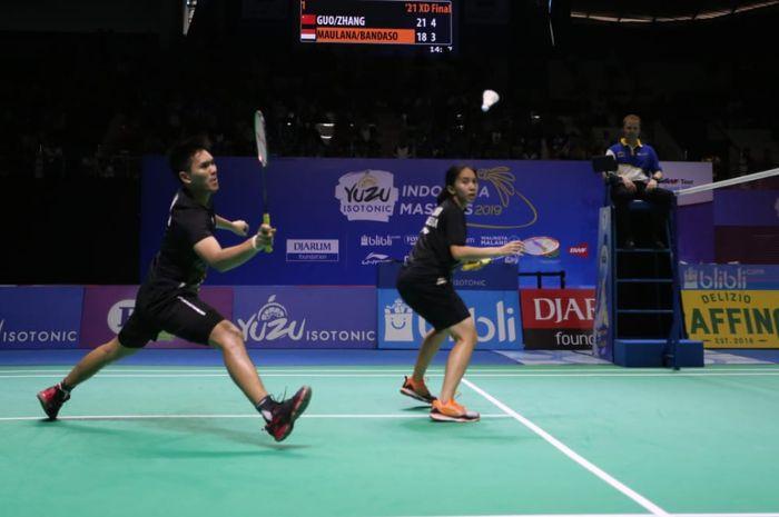 Ganda campuran Indonesia, Adnan Maulana/Mychelle Crhystine Bandaso pada final Indonesia Masters 2019, Minggu (6/10/2019)