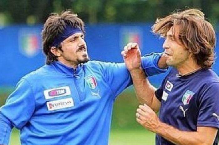 Dua mantan pemain AC Milan, Gennaro Gattuso (kiri) dan Andrea Pirlo (kanan).