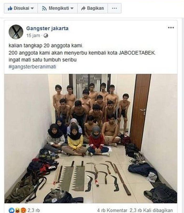 Ancaman geng motor setelah 20 anggotanya berhasil diciduk polisi.