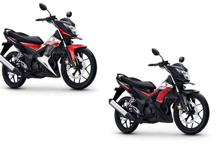 Honda Sonic 150R dengan warna Energetic Red (kiri) dan Activo Blck (kanan)