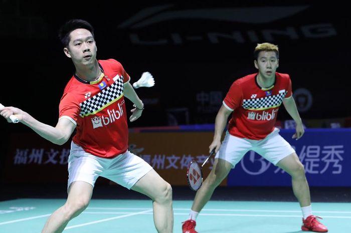 Pasangan ganda putra Indonesia, Marcus Fernaldi Gideon/Kevin Sanjaya Sukamuljo, tampil pada babak pertama Fuzhou China Open 2019 di Haixia Olympic Sports Center, Selasa (5/11/2019).