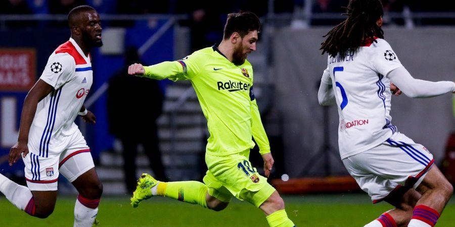 Hasil Liga Champions - Messi Gocek Pemain Lyon 5 Kali, Barcelona Bermain Seri