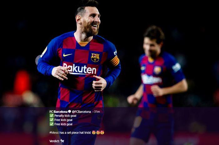 Selebrasi Lionel Messi usai mencetak gol ke gawang Celta Vigo di Stadion Camp Nou, pada laga pekan ke-13 Liga Spanyol, Sabtu (9/11/2019) atau Minggu dini hari WIB.