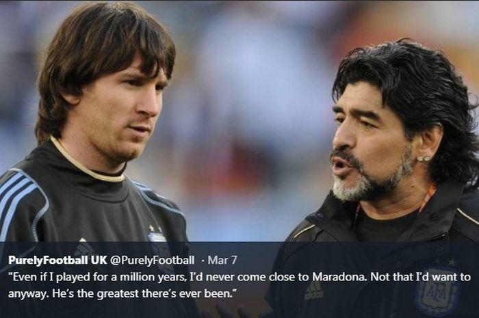 Lionel Messi dan Diego Maradona di timnas Argentina.