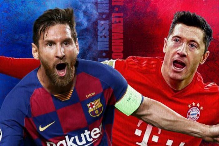 Megabintang Barcelona, Lionel Messi, dan striker Bayern Muenchen, Robert Lewandowski, menjadi pemain inti dalam laga perempat final Liga Champions.