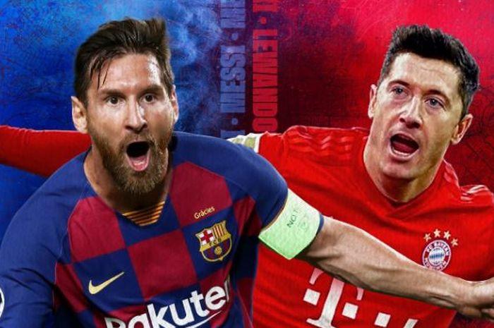 Megabintang Barcelona, Lionel Messi, dan striker Bayern Muenchen, Robert Lewandowski.