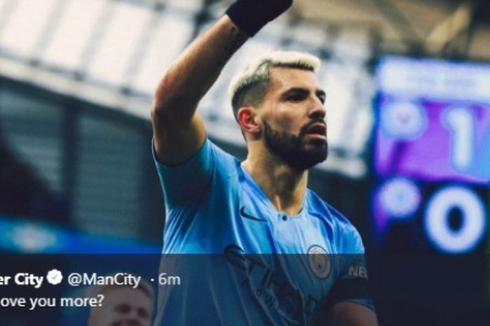 Striker Manchester City, Sergio Aguero, merayakan gol ke gawang Chelsea pada laga Liga Inggris di Etihad Stadium, Minggu (10/2/2019)