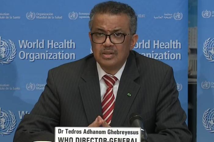 Dirjen WHO, Dr Tedros Adhanom Ghebreyesus, menyampaikan penetapan COVID-19 sebagai pandemi global, pada Kamis (12/3/2020).