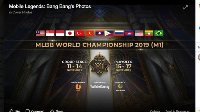 Kejuaraan Dunia gim Mobile Legends: Bang Bang pertama (M1) yang berlangsung di Kuala Lumpur, Malaysia, 11-17 November 2019. (FACEBOOK.COM/MOBILELEGENDSGAMEINDONESIA