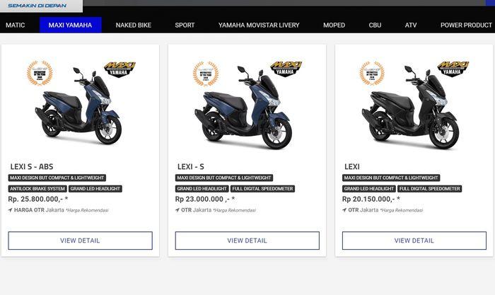 Yamaha Lexi hadir dalam tiga tipe