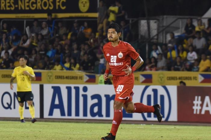 Aksi Bambang Pamungkas  saat Persija Jakarta bertandang ke markas Ceres Negros, Stadion Panaad, Bacolod, Filipina, pada matchday ketiga Grup G Piala AFC 2019, Rabu (3/4/2019).